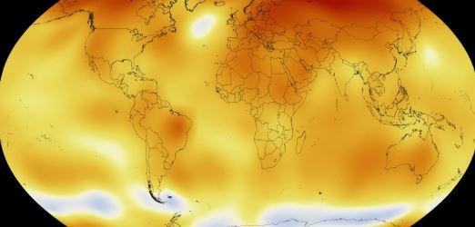Mapa global de temperaturas em junho (Imagem: Nasa)