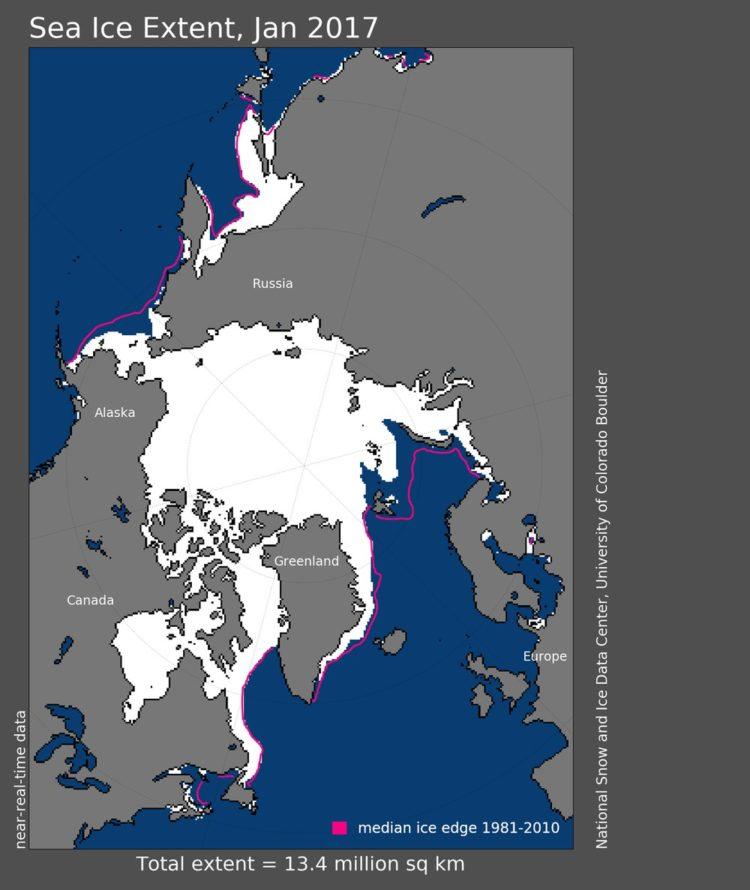 Mapa mostra extensão de gelo marinho em branco; linha vermelha mostra média de extensão do gelo entre 1981 e 2010.  (Foto: National Snow and Ice Data Center)